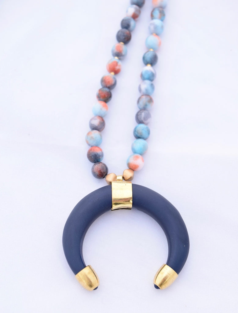 Vivian Blue and Coral Beaded Necklace