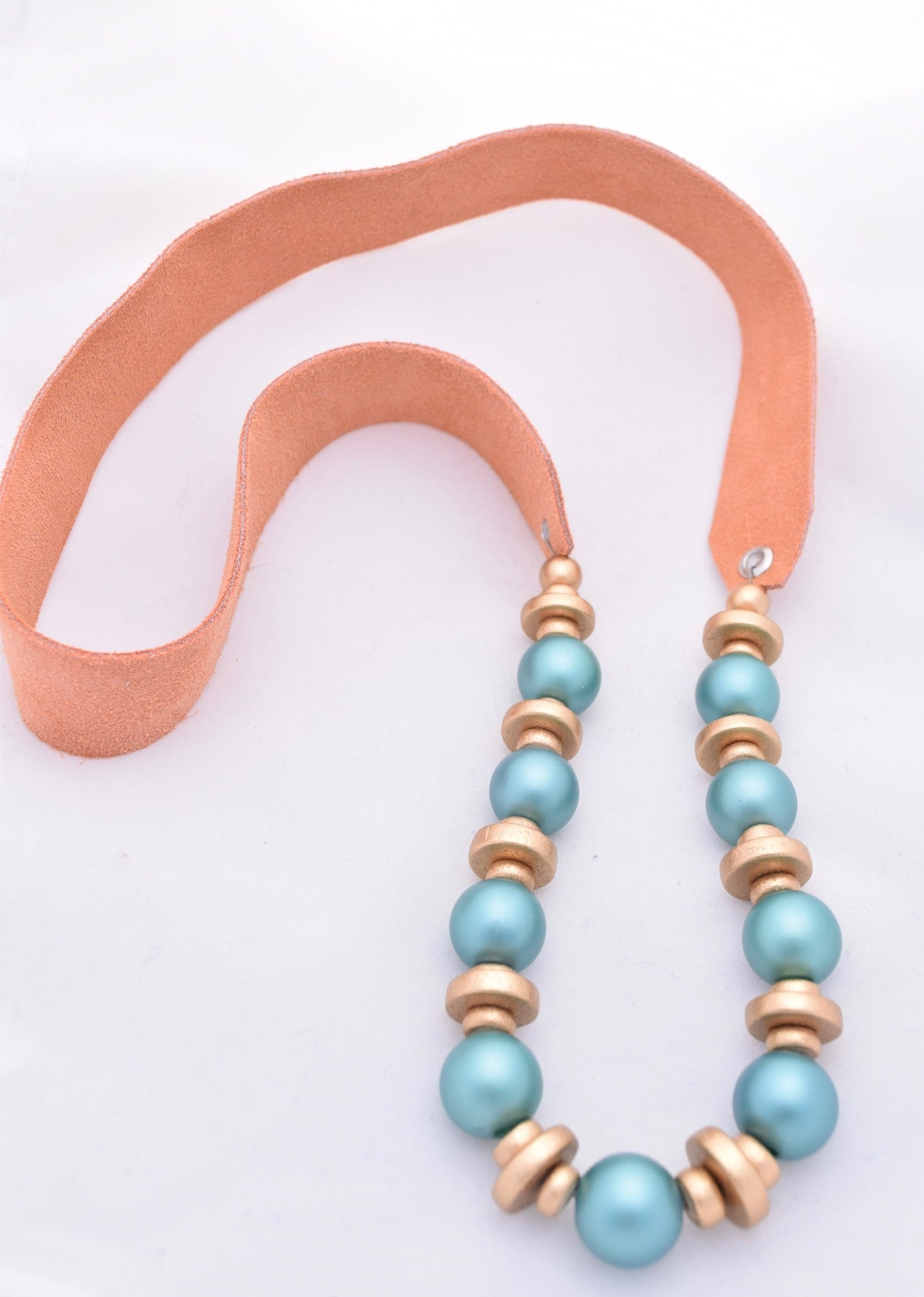 Turquoise Pearl and Gold Necklace on Peach Leather Strap