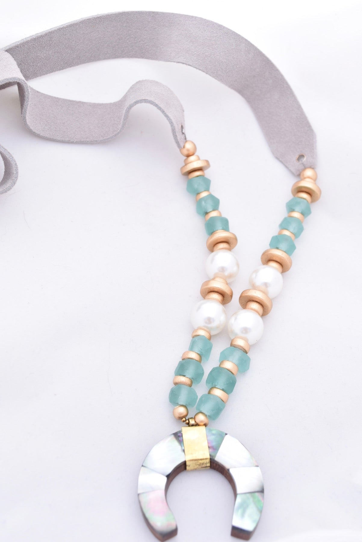 Iridescent Abalone Crescent on Gray Leather Suede Necklace