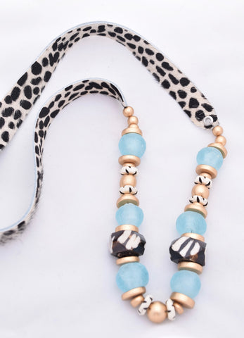 Faux Fur Cheetah Leather Necklace - Brown and Blue
