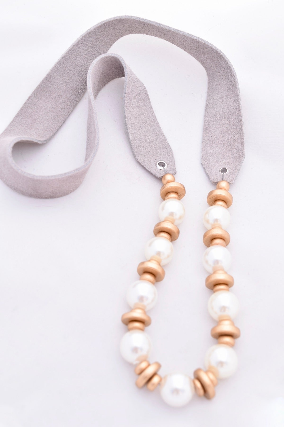 Ivory Pearl and Gold Necklace on Gray Leather Strap