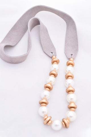 Laura Ivory Pearl and Gold Necklace on Gray Leather Strap
