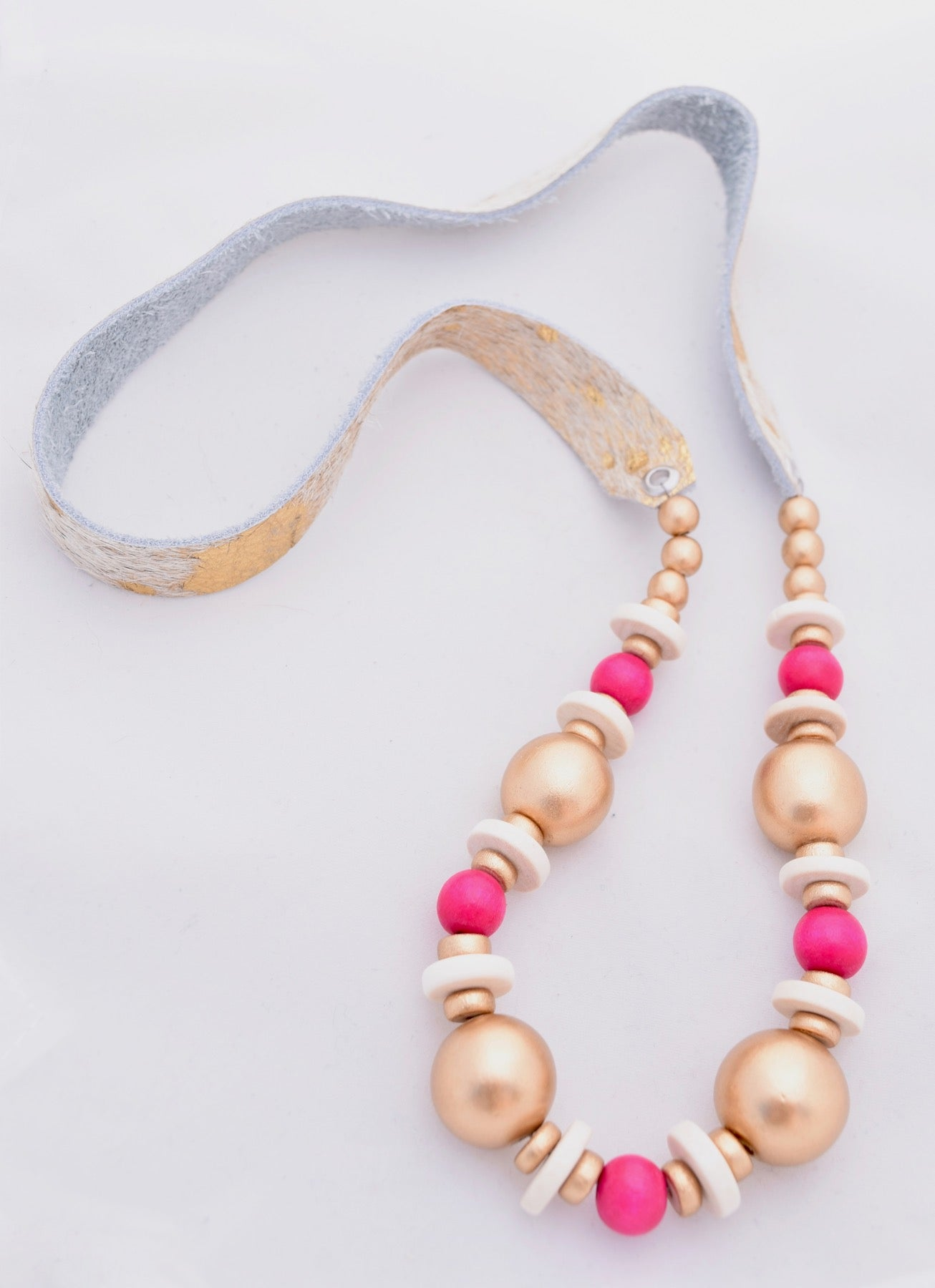Gold and Hot Pink on Metallic Gold Faux Hair Necklace