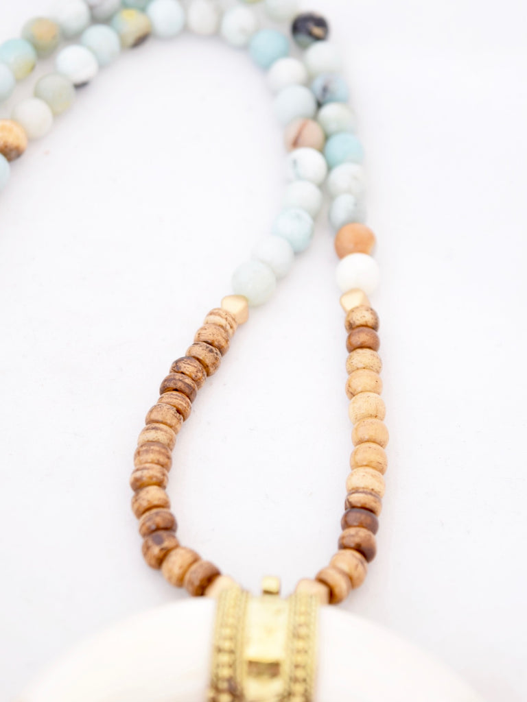 Allie Amazonite and Ivory Crescent Horn Necklace