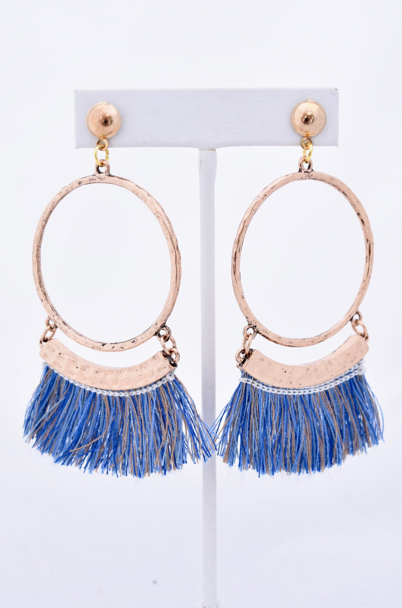 Chelsea Blue Fringe Hoop Earrings