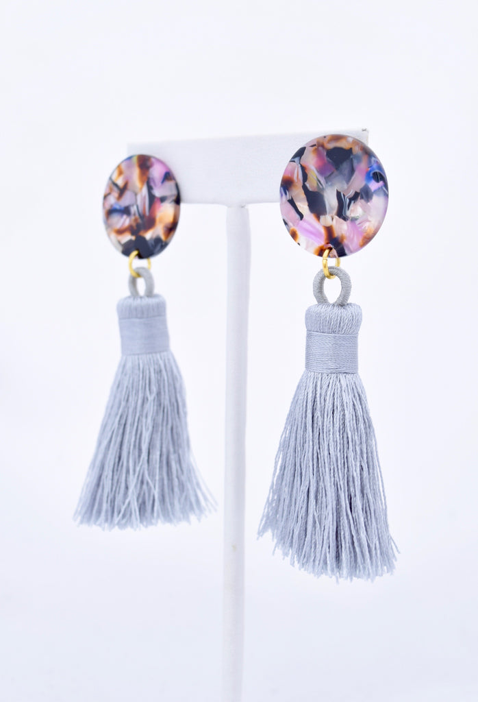 Becca Gray Silk Tassel Multicolor Resin Earring
