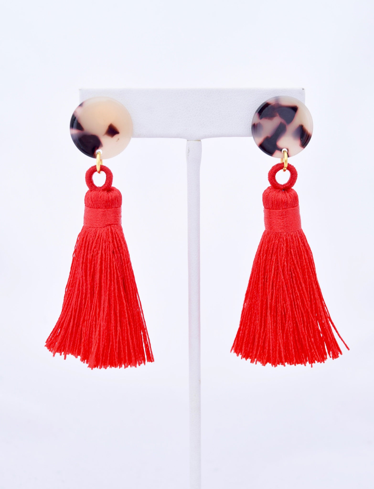 Becca Red Silk Tassel Tortoise Resin Earring
