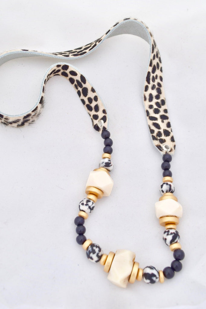Faux Fur Cheetah Leather Necklace - Black and White