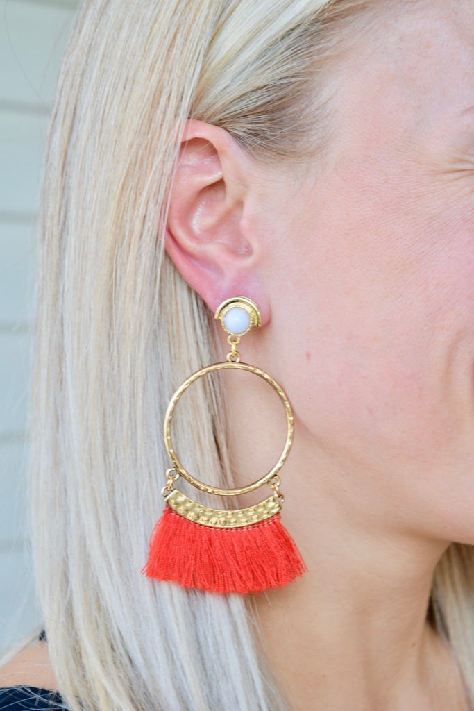 Chelsea Red Fringe Hoop Earrings