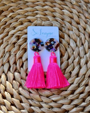 Becca Hot Pink Silk Tassel Multicolor Resin Earring
