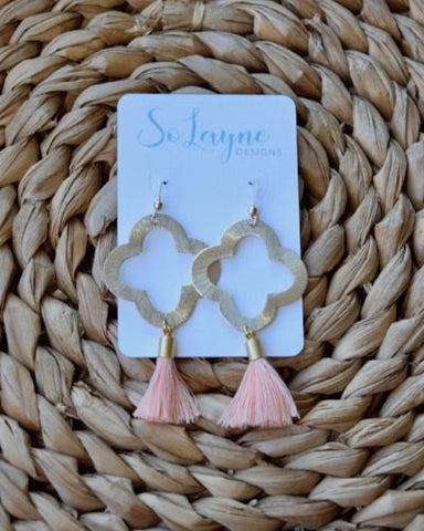 Olivia - Peach Tassel Quatrefoil Earrings