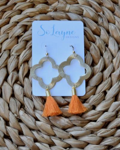 Olivia - Orange Tassel Quatrefoil Earrings