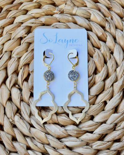 Elisa - Druzy Gold Keyhole Earrings