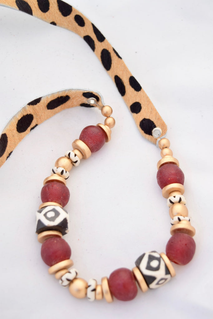 Faux Fur Cheetah Leather Necklace - Brown and Red - VDAY