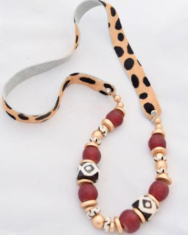 Faux Fur Cheetah Leather Necklace - Brown and Red