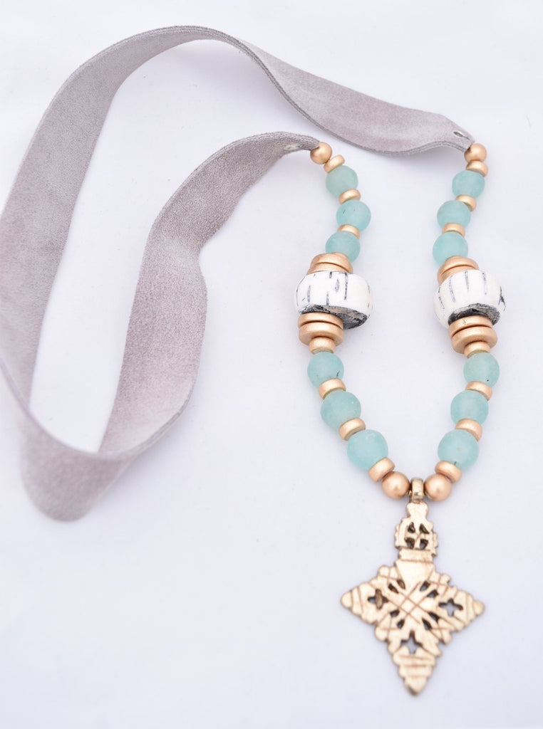 Anne Gold Cross Necklace - Grey Suede and Seafoam Glass
