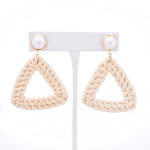 Ella Pearl Stud and Ivory Rattan Triangle - VDAY