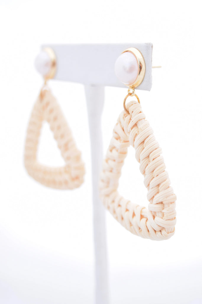 Ella Pearl Stud and Ivory Rattan Triangle