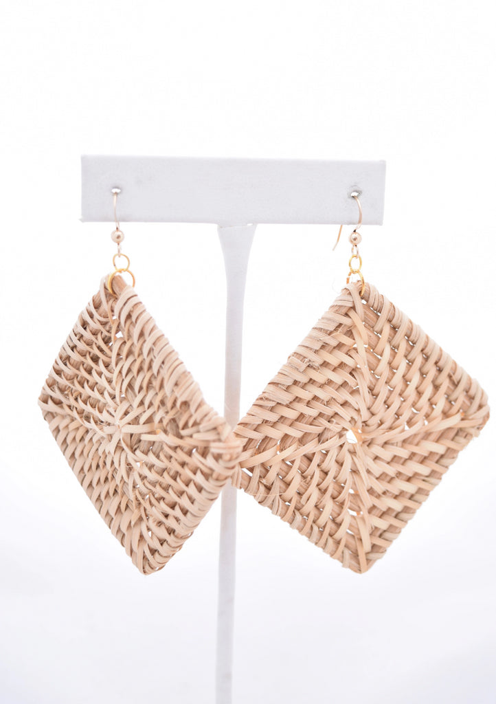 Courtney Large Square Rattan Earrings