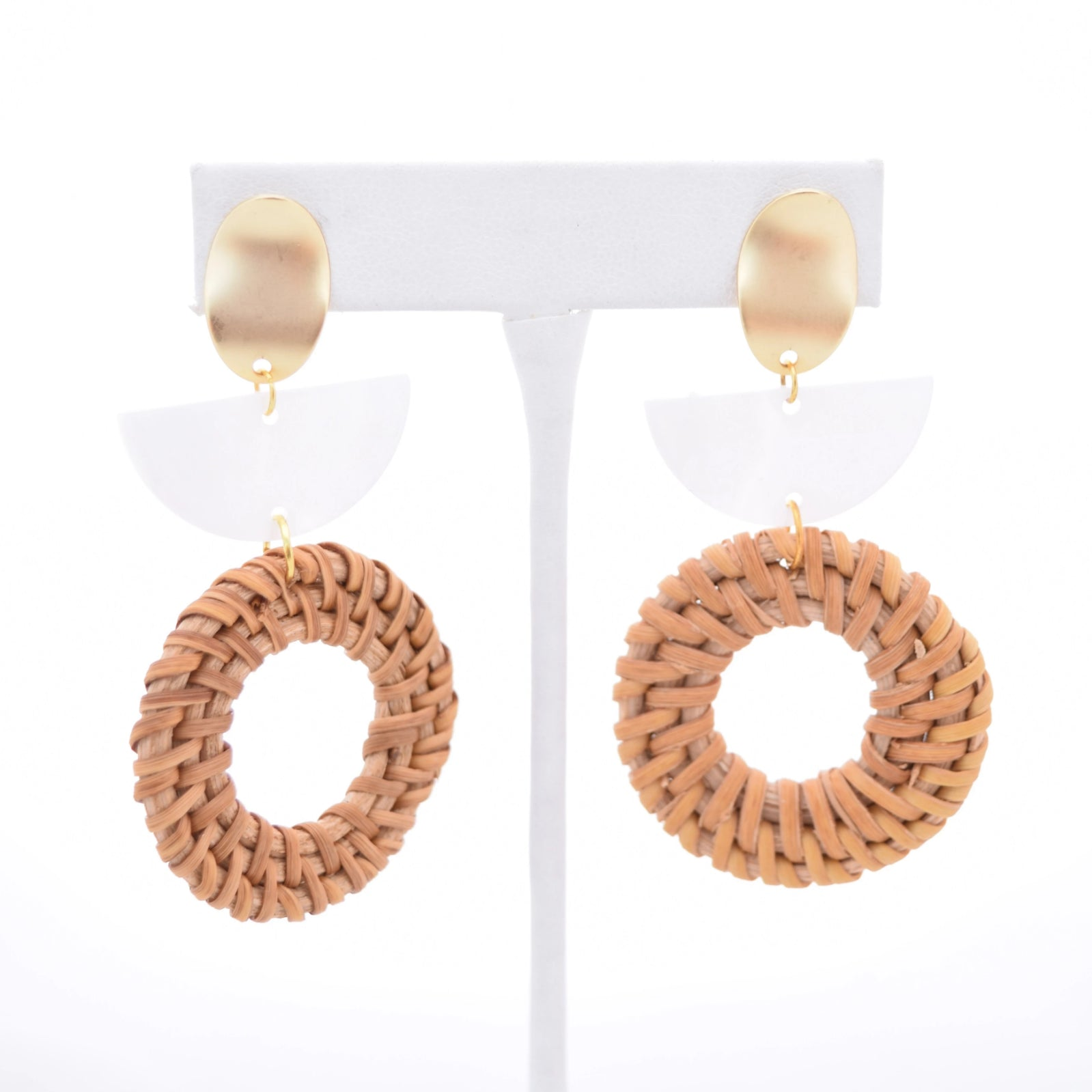 Taylor Pearl Resin and Round Rattan Tiered Earrings