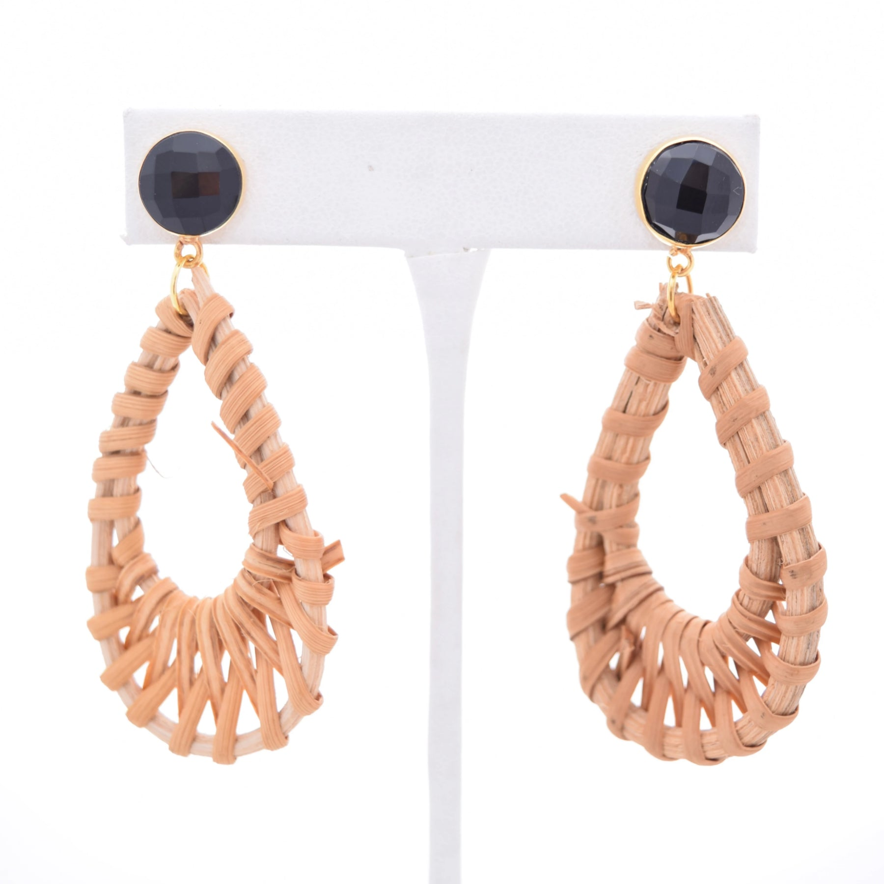 Kathryn Black Onyx Stud and Rattan Teardrop