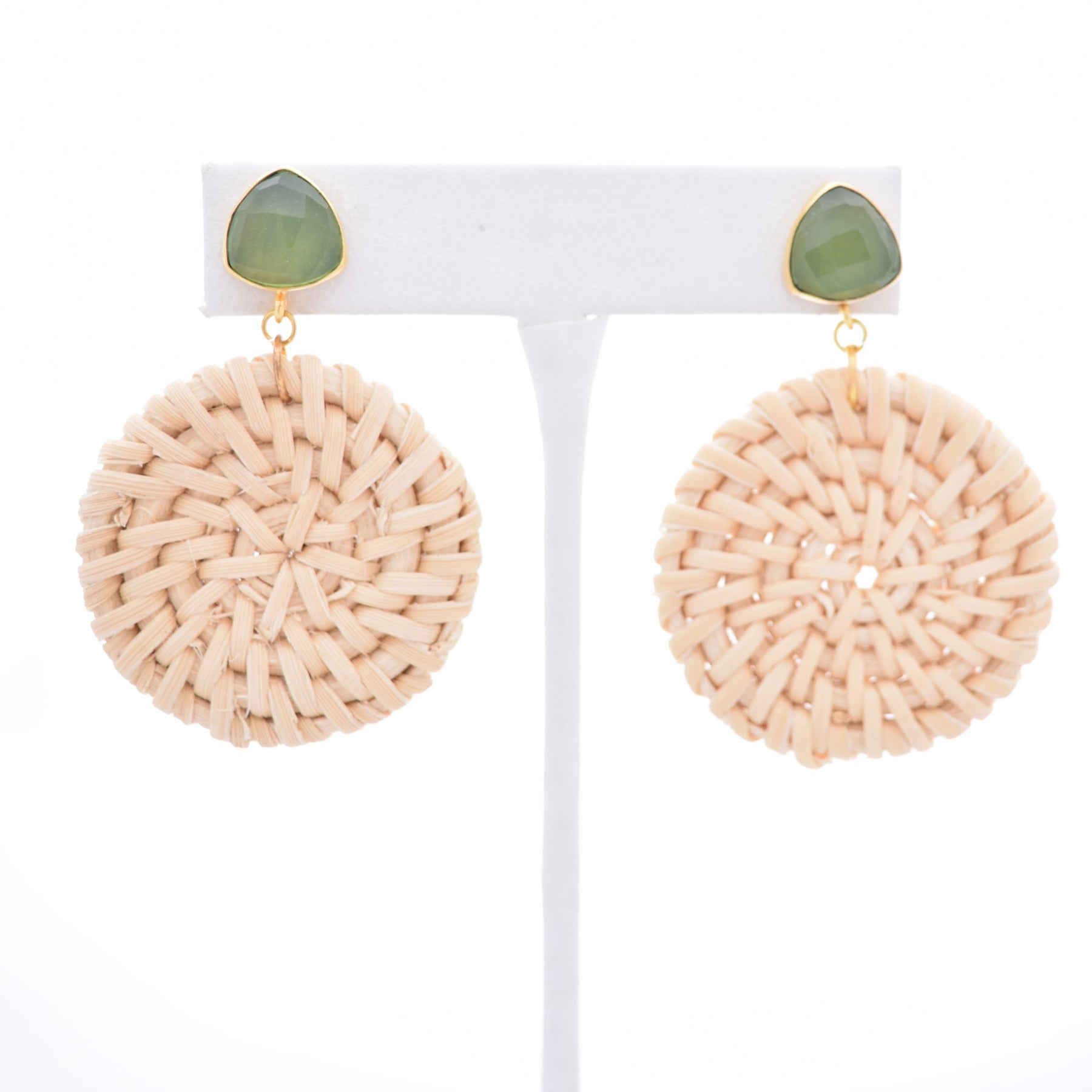 Bailey Green Gemstone Stud and Round Ivory Rattan