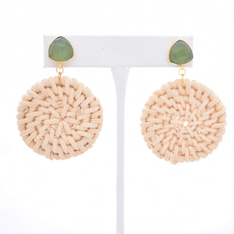 Bailey Green Gemstone Stud and Round Ivory Rattan, STP