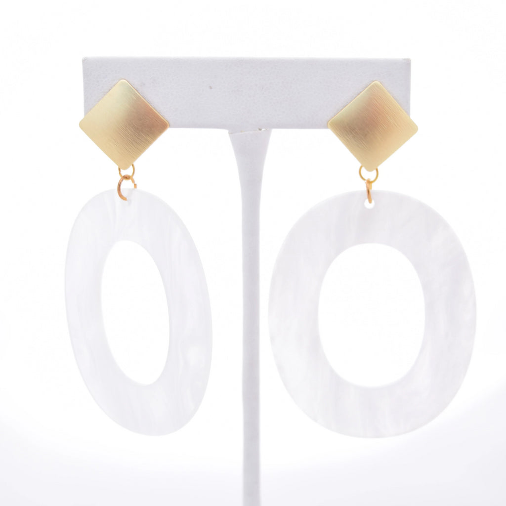 Camille Gold Square Stud and White Oval Resin Pendant - VDAY