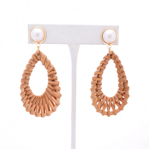 Addy Pearl Stud and Rattan Teardrop - VDAY