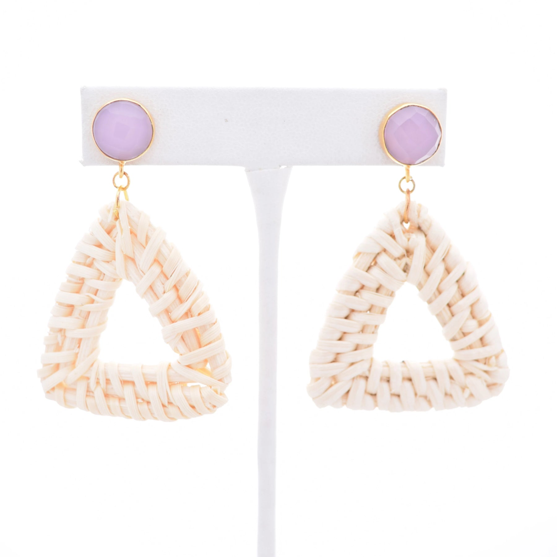 Laura Rose Gemstone Stud and Ivory Rattan Triangle, Summer
