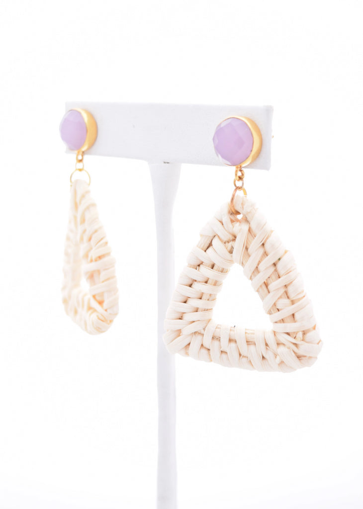 Laura Rose Gemstone Stud and Ivory Rattan Triangle
