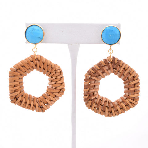 Arin Turquoise Stud and Rattan Hexagon, Summer