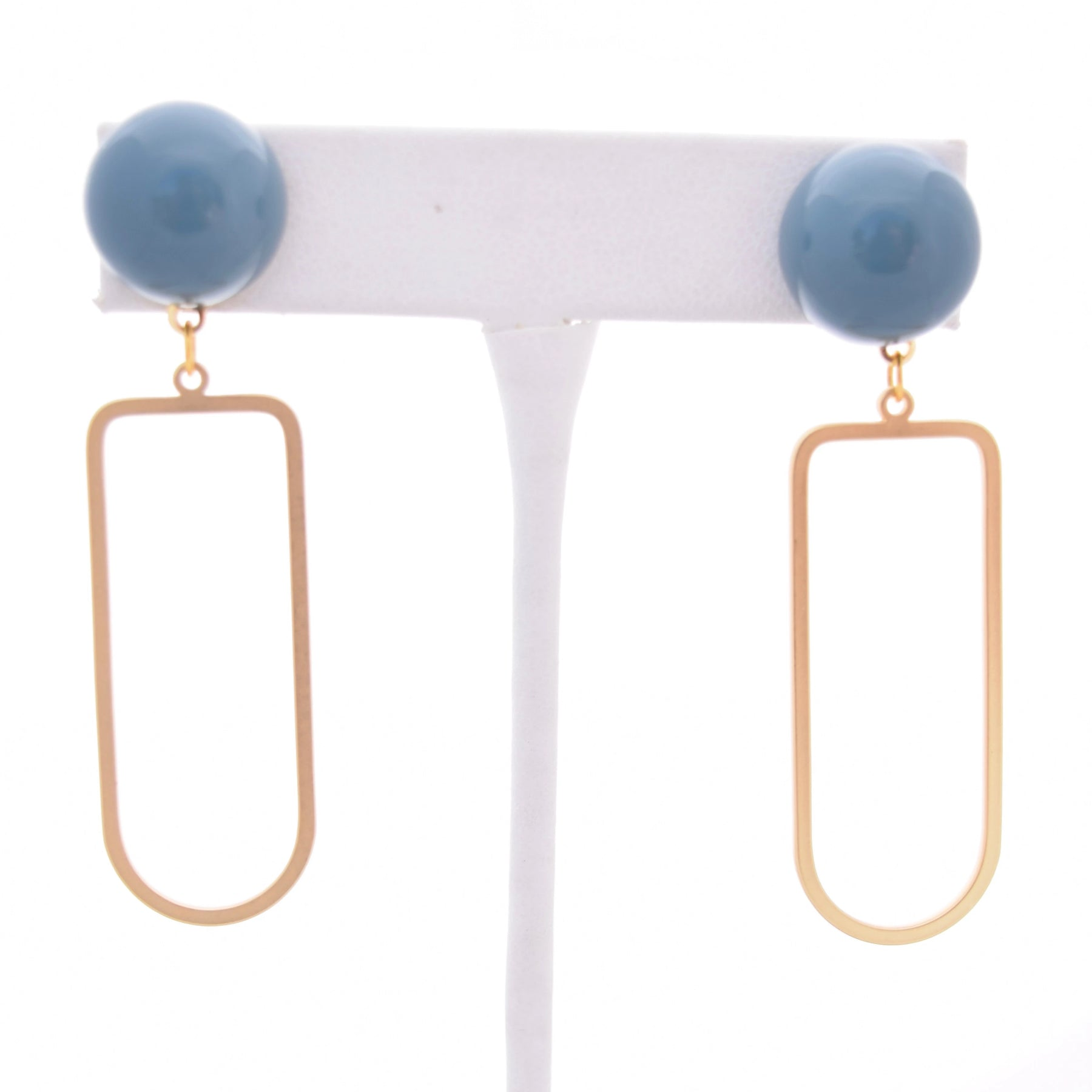 Emma Gold Drop and Blue Resin Stud