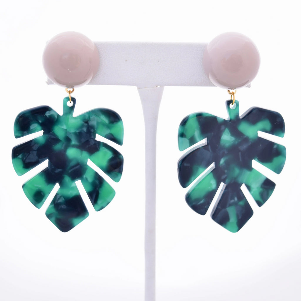 Jenn Green Palm Leaves Resin Earring, STP