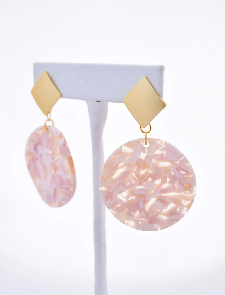 Hannah Gold Square Stud and Pink Marbled Resin Pendant