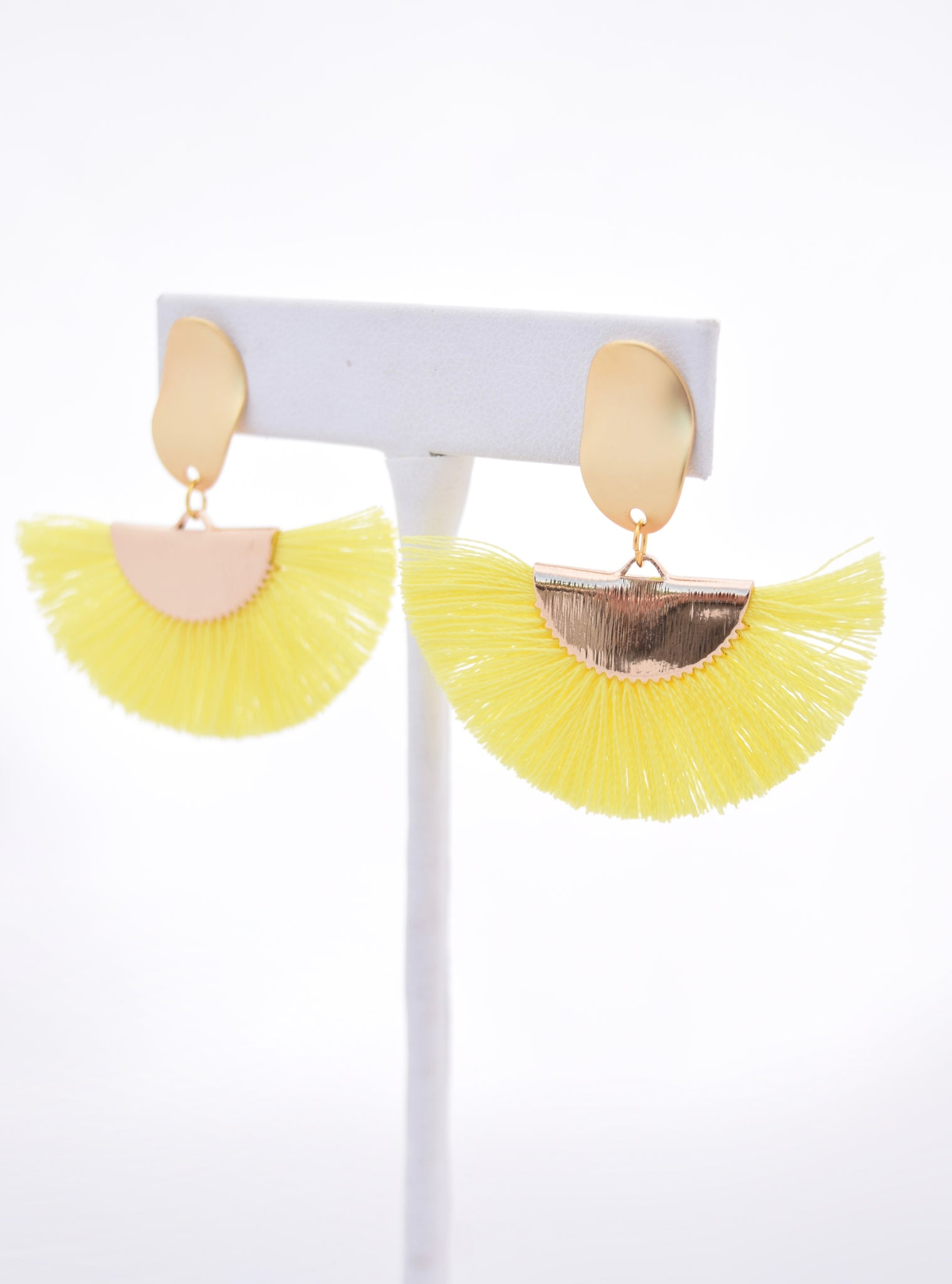 Nancy Neon Yellow Cotton Tassel/Fan Fringe Earring, STP