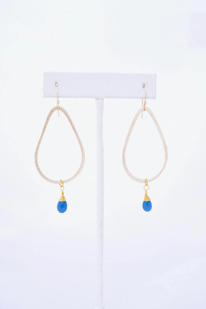 Kaleigh Gold Teardrop Earring with Blue Chalcedony Pendant