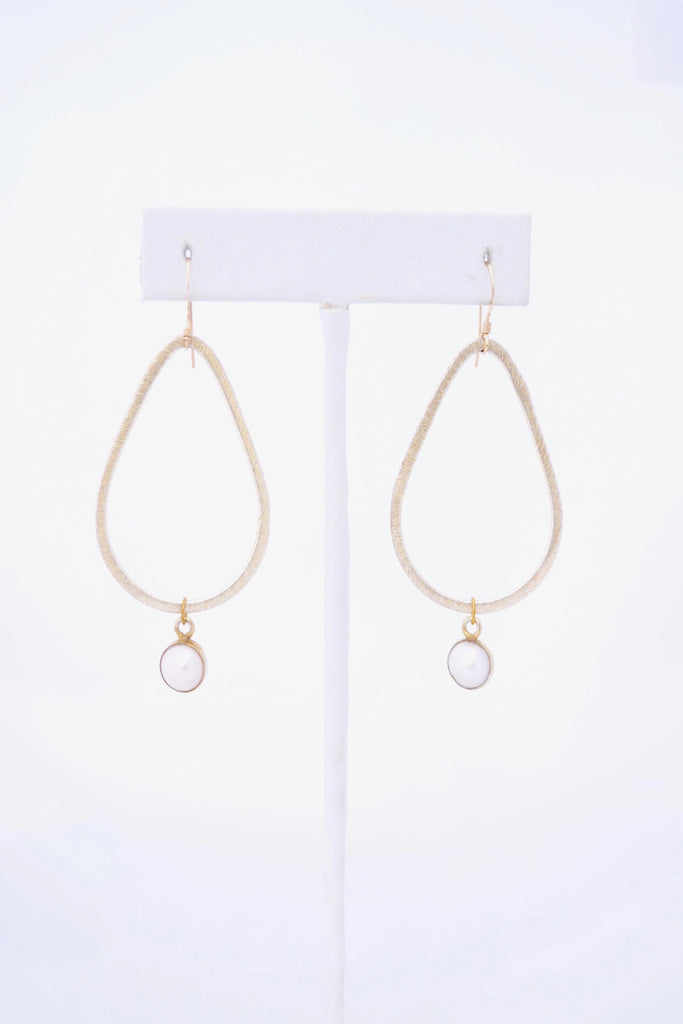 Kaleigh Gold Teardrop Earring with Pearl Pendant - VDAY