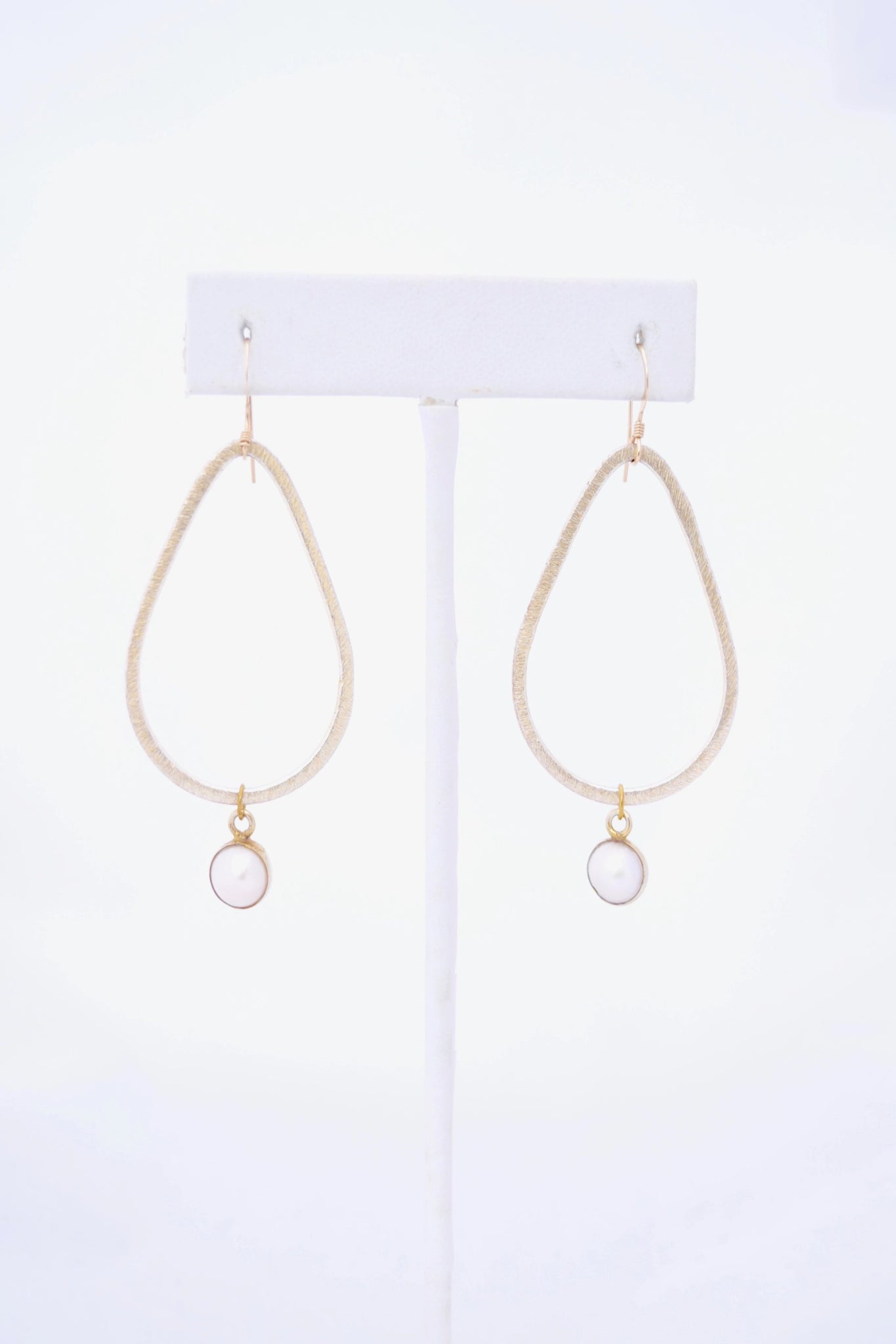 Kaleigh Gold Teardrop Earring with Pearl Pendant