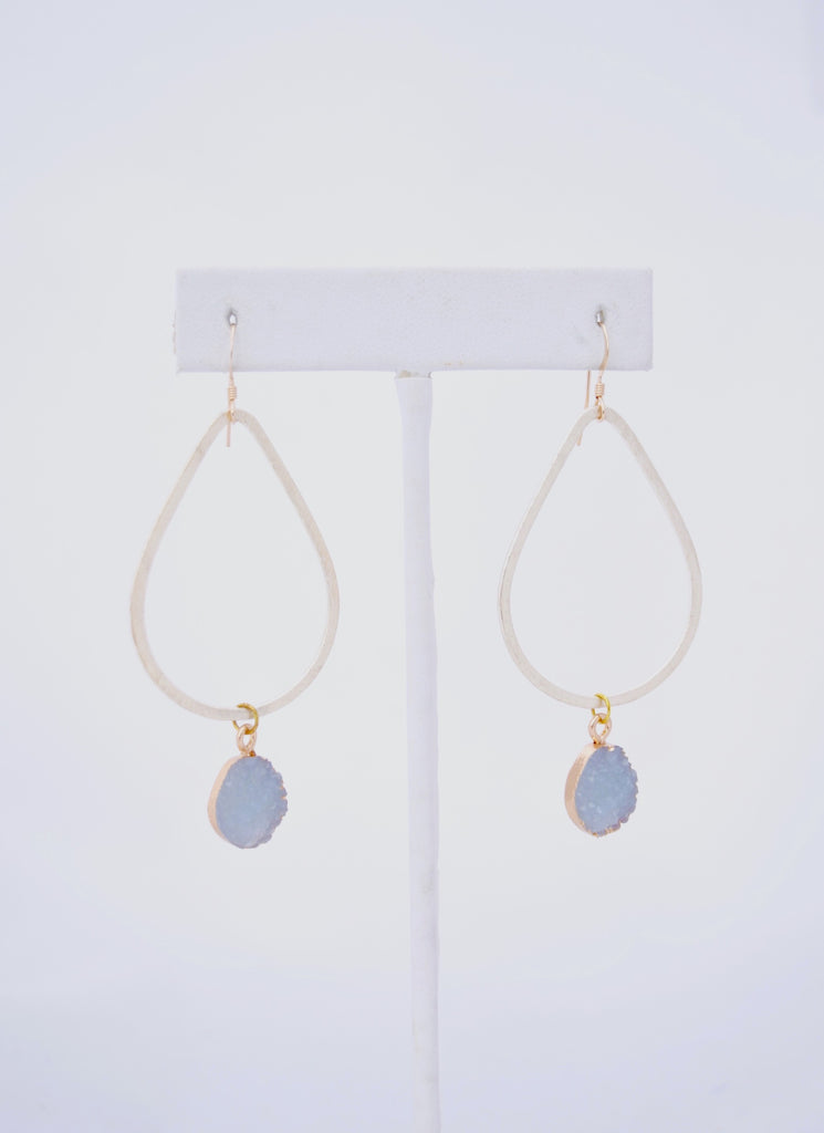 Kaleigh Gold Teardrop Earring with Gray Druzy Pendant
