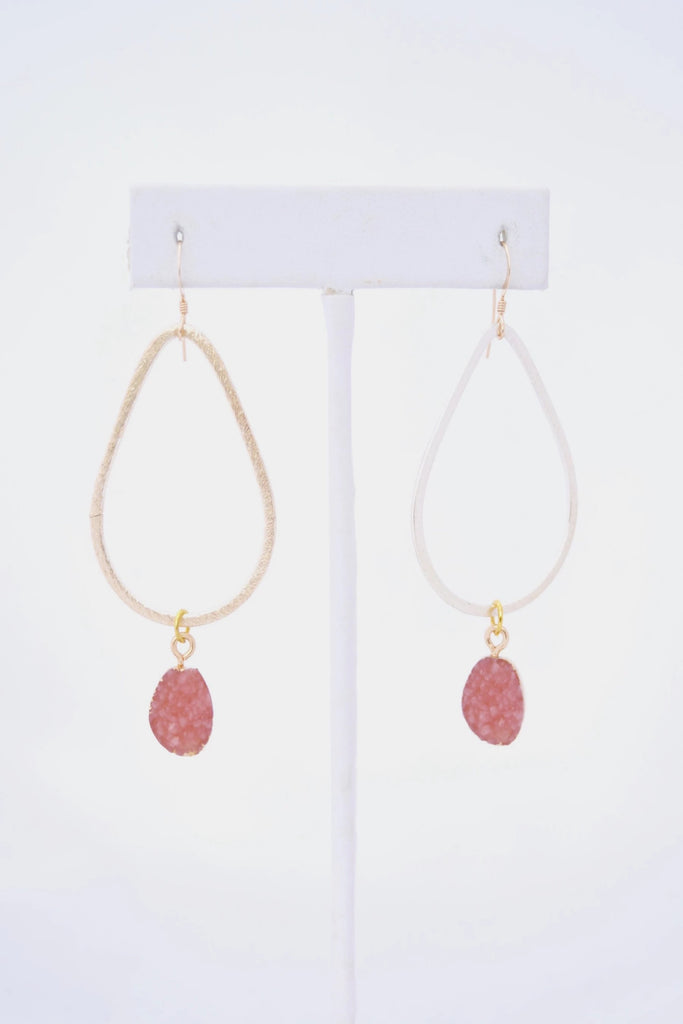 Kaleigh Gold Teardrop Earring with Pink Druzy Pendant - VDAY