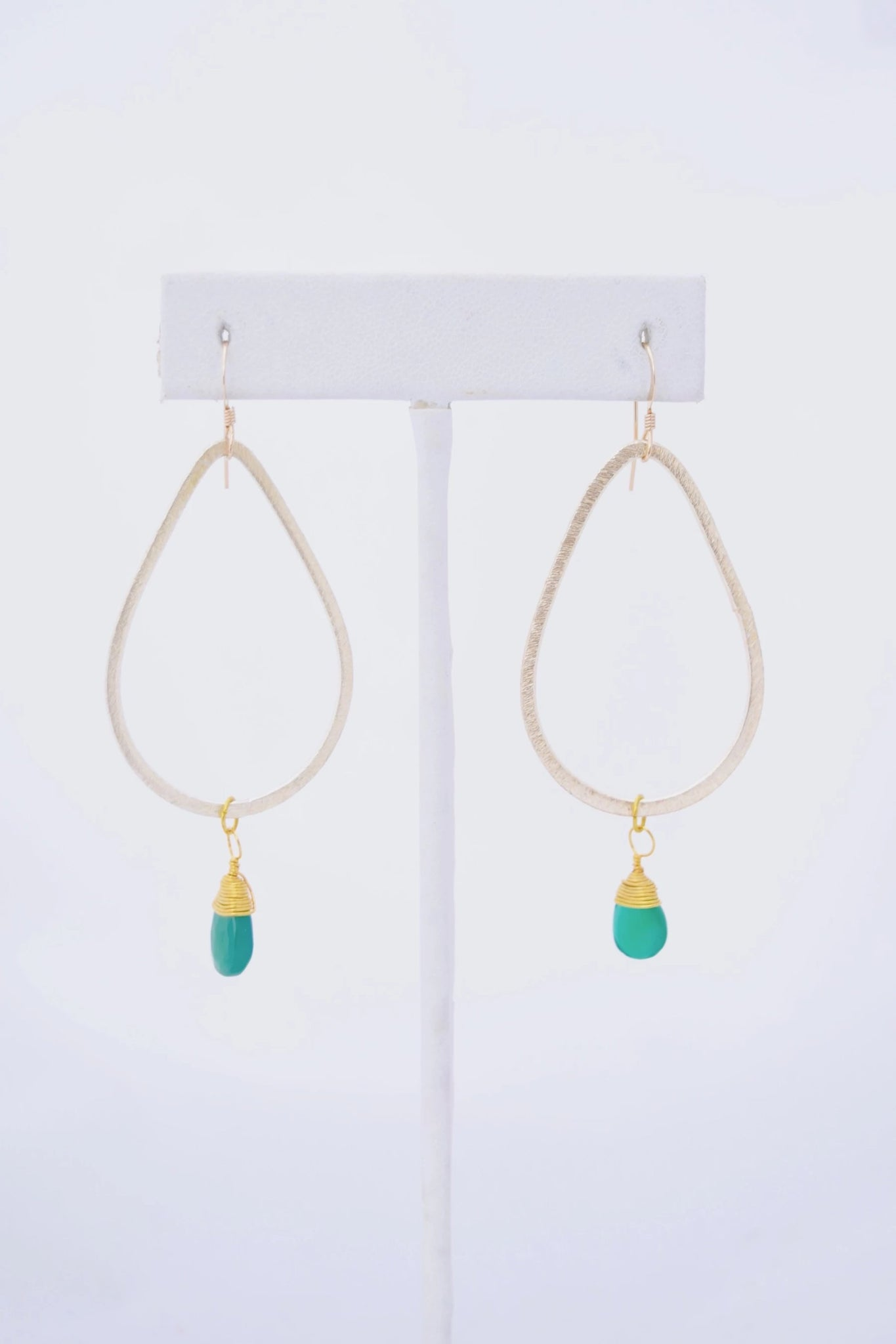 Kaleigh Gold Teardrop Earring with Green Onyx Pendant