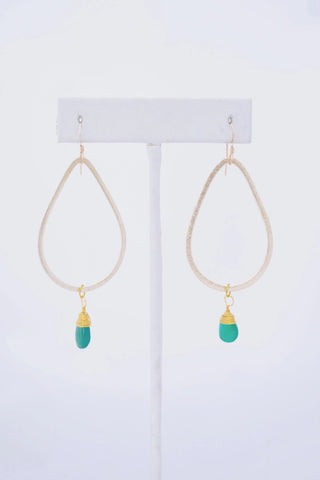 Kaleigh Gold Teardrop Earring with Green Onyx Pendant, STP