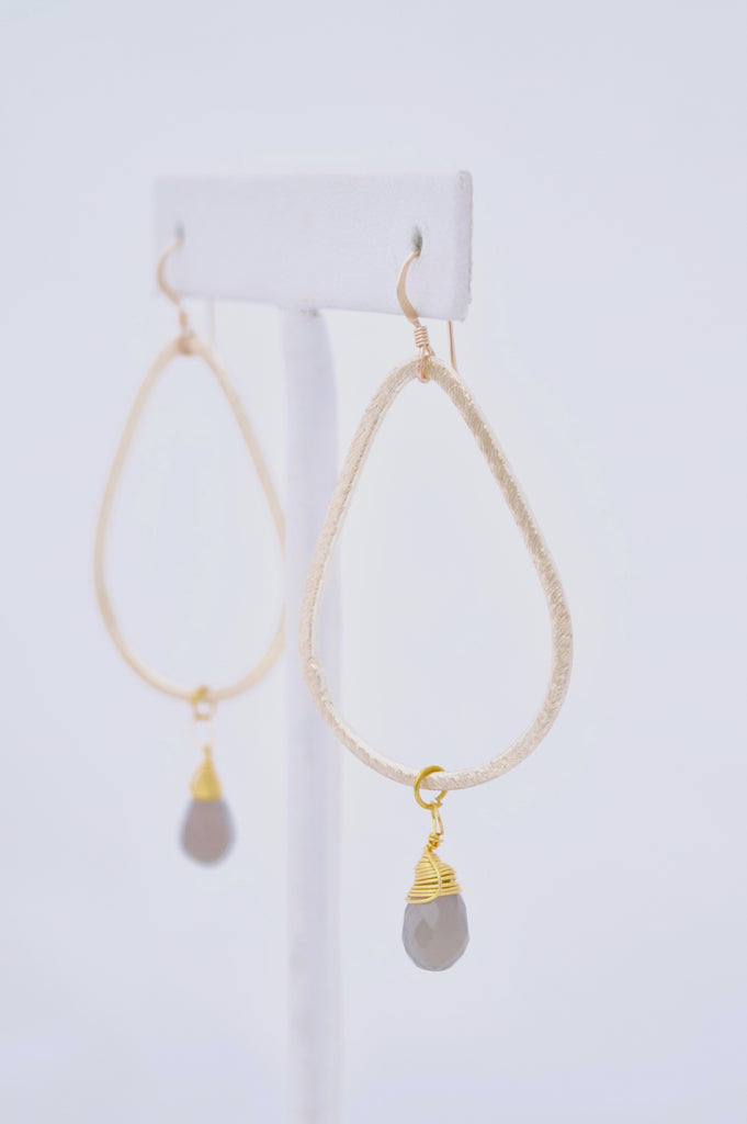 Kaleigh Gold Teardrop Earring with Wire Wrapped Gray Chalcedony Pendant