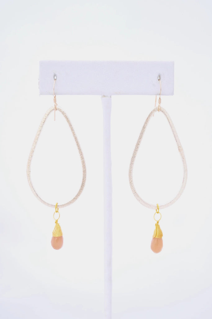 Kaleigh Gold Teardrop Earring with Wire Wrapped Sunstone Pendant