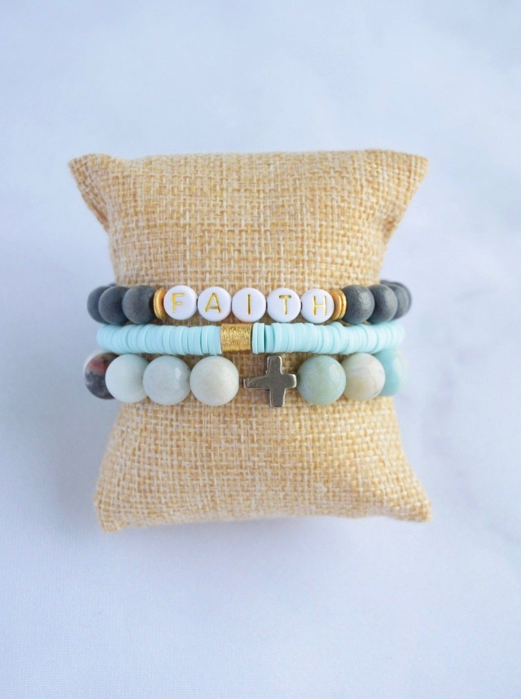 Faith Bracelet Stack - Blue