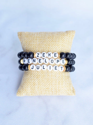 Customizable Black Wood Letter Bracelet