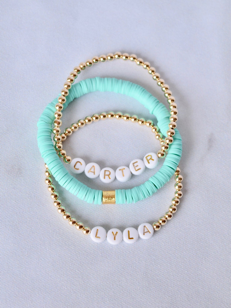 Customizable White and Gold Bracelet Stack