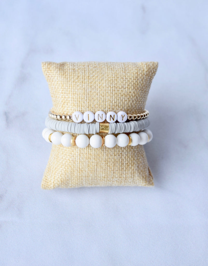 Customizable 14kt Beaded Gold Letter Bracelet