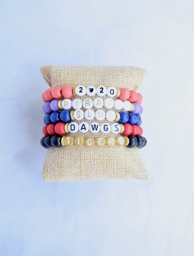 Customizable Red Wood Letter Bracelet